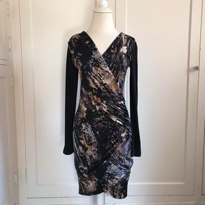 FOREVER 21 Faux Wrap Mini Dress Black Small